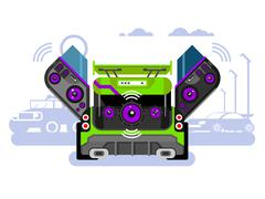 Car audio system - stock illustration