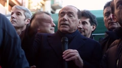 Silvio Berlusconi public meeting in Milan Stock Footage
