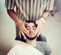 Traditional ritual of shaving the beard - stock photo