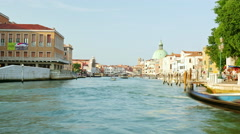 Time lapse video of passenger boats pass by on the Grand Canal in Venice, Italy Stock Footage
