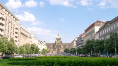 Timelapse video of Prague cityscape with the main building of National Museum in Stock Footage
