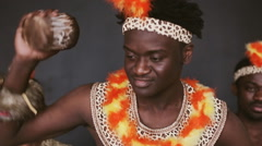 African tribe dancing and drumming Stock Footage