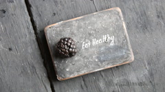 Eat heathy idea. Fruit diet, dieting, nutrition, vegetarian concept. Food for - stock footage