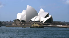 Australia Sydney Opera House with Sea Gulls and ferry Stock Footage