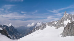 Beautiful 4K timelapse panorama of mountain range near the Mont Blanc Stock Footage