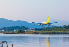 CORFU AIRPORT, GREECE - JULY 9, 2011: Airbus A319 of Germanwings company at t Stock Photos