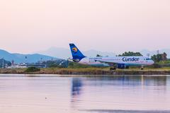 CORFU AIRPORT, GREECE - JULY 9, 2011: Airbus A320 of Condor company at the ai - stock photo