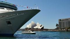 Australia Sydney Opera House, cruise ship and sightseeing boat Stock Footage