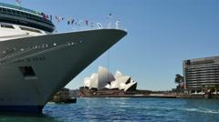 Australia Sydney Opera House, cruise ship, and ferry Stock Footage