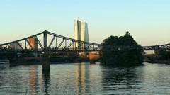 4K Skyline of ECB EZB Frankfurt am Main Eisener Steg bridge at dusk Germany Stock Footage