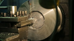 Included horizontal milling machine, machining and shiny metallic round detail Stock Footage
