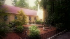 Aerial of Old Historic Church In The Woods From the 1800's Stock Footage