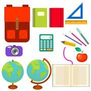 School supplies vector clip art objects Stock Illustration