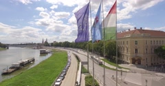 Flags in the town Szeged Stock Footage