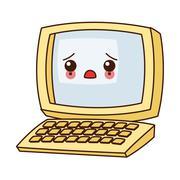 Kawaii computer icon Stock Illustration