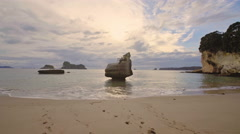 Cathedral Cove beach, New Zealand Stock Footage