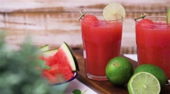 Watermelon smoothies Stock Footage