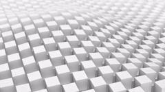 Checkered surface of white cubes. Loopable 3D animation 4k UHD (3840x2160) - stock footage