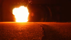 Gunpowder igniting path burning to blast Stock Footage