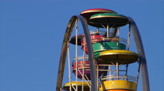 Ferris Wheel close up with blue sky Stock Footage