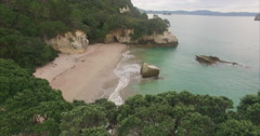 Aerial over Cathedral Cove beach, New Zealand Stock Footage