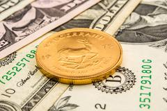 American dollar backed by gold Stock Photos