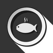 Icon - grilling fish with smoke and shadow Stock Illustration