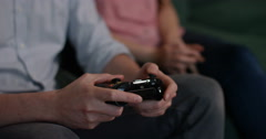 4k, Young man playing video game after a long days work. Stock Footage