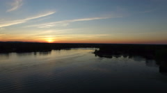 Sunset View in Western Shore of Montreal, Canada (Slow Motion Aerial Background) Stock Footage