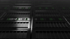 Modern server room dolly shot, low angle view. Seamless loop able 4K clip - stock footage