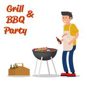 Man of cooking meat with a grill. Barbecue party. Vector illustration - stock illustration