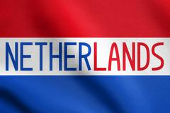 Netherlands flag and word Netherlands with fabric texture Stock Illustration