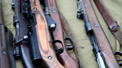 Close up of historical rifles and machine-guns Stock Footage
