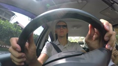 Man Holding Steering Wheel While Driving Car. 4K Stock Footage