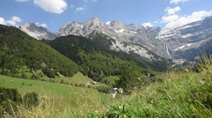 Aerial view of Cirque de Gavarnie, Pyrenees mountains, France - stock footage