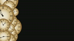 Multiple clocks left side third on black 4K Stock Footage