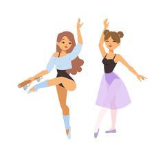 Ballerina dancer vector girl - stock illustration