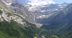 Aerial view of Cirque de Gavarnie, Pyrenees mountains, France Stock Footage