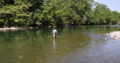 Fisherman fly-fishing in French river - stock footage