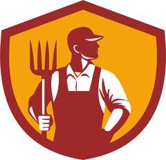 Organic Farmer Pitchfork Crest Retro. - stock illustration