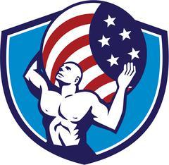 Atlas Carrying Globe USA Flag Crest Retro - stock illustration