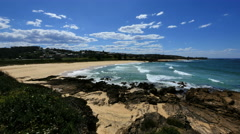 Australia beach with rock foreground at Kianga Stock Footage