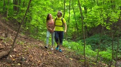 Male and female hikers walking in sunny summer forest. 4K tracking steadicam Stock Footage