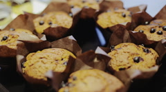 Homemade black berry muffins in paper cupcake holder for healthy breakfast - stock footage