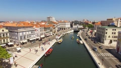 Canals of Aveiro, Portugal - aerial view Stock Footage