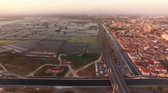 Historical salt pans in Aveiro, Portugal aerial view Stock Footage