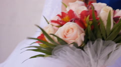Brides flowers in the hand on the wedding day Stock Footage