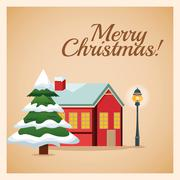 Winter house icon. Merry Christmas design. Vector graphic - stock illustration