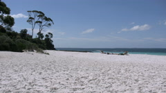 Australia Hyams Beach at Jervis Bay view down beach Stock Footage