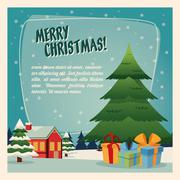 Pine tree and gifts. Merry Christmas design. Vector graphic Stock Illustration